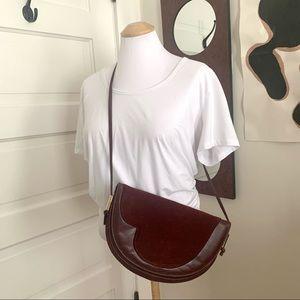 Vintage Suede Crescent Leather Burgundy Bag